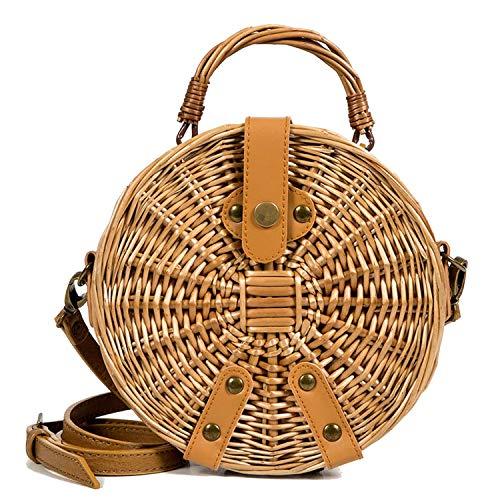 anchuantianxiacan Rattan-Tasche, für Damen, für den Sommer, Urlaub, Strand, gewebt, rund, handgefertigt, Brown Round - Größe: Einheitsgröße
