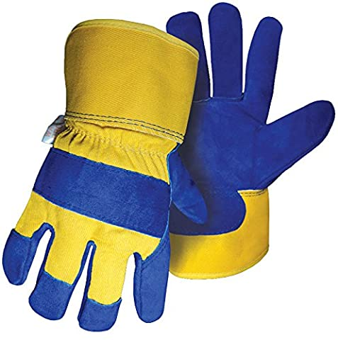 BOSS 7367Wasserdicht Gefüttert Leder Palm Handschuh, groß, gelb/blau