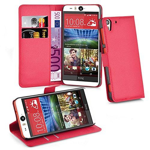 Cadorabo Hülle für HTC Desire Eye Hülle in Karmin Rot Handyhülle mit Kartenfach und Standfunktion Case Cover Schutzhülle Etui Tasche Book Klapp Style Karmin-Rot