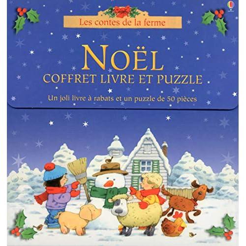 coffret Noël - livre et puzzle - Les contes de la ferme
