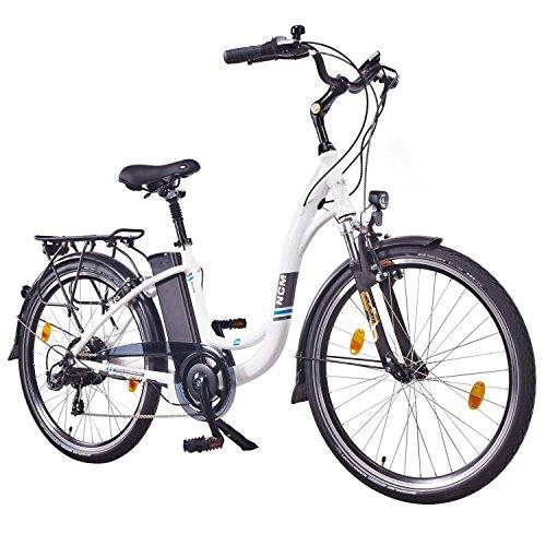 NCM Rome,26″ Zoll Elektrofahrrad Herren/Damen Unisex Pedelec,E-Bike,City Rad, 36V 250W 13Ah Lithium-Ionen-Akku mit 468Wh, weiß
