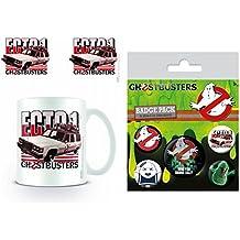Set: Ghostbusters, 3, Ecto-1 Foto-Tasse Kaffeetasse (9x8 cm) Inklusive 1 Ghostbusters Button Pack (15x10 cm)