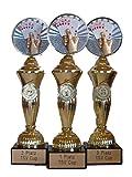 RaRu Poker/Skat-Pokale (3er-Serie) mit Wunschgravur und 3 Anstecknadeln (Sticker)