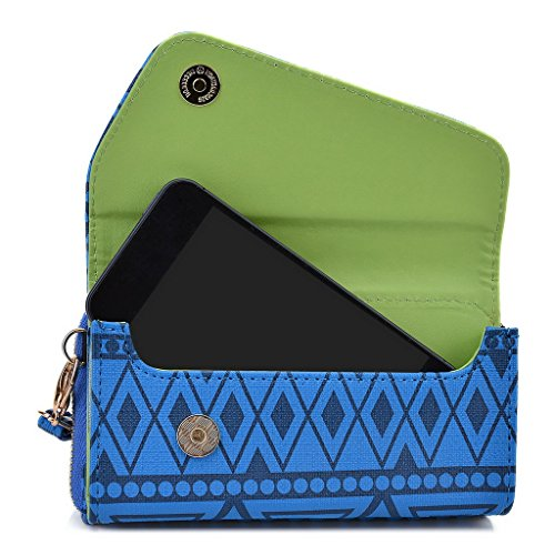 Kroo Pochette/étui style tribal urbain pour Alcatel One Touch M Pop 5020D Noir White and Orange bleu marine