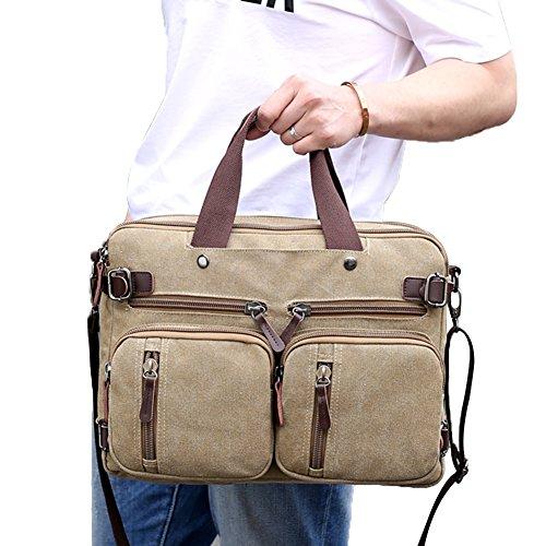 PB-SOAR 4-in-1 Herren Damen Vintage Canvas Multifunktionale Aktentasche Arbeitstasche Rucksack Umhängetasche Messenger Bag Laptoptasche Wickeltasche Vielseitige Tasche (Grau) Khaki