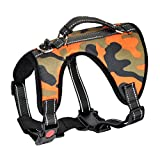 Camouflage No-Pull-Hundegeschirr Sicher Kontrolle Brustgeschirre Anti Zieh Brustgurt Vest Verstellbares Harness Führendes für Mittelgroße und Große Hunde Training Anti Choke Sicherheitsgeschirr (L)