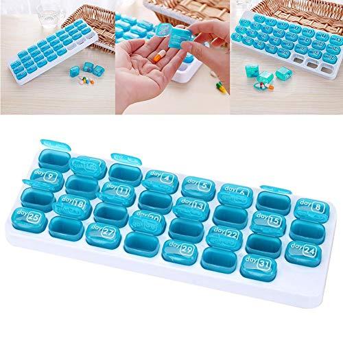 luckything Pille Veranstalter Box mit Einem Tablett Tragbare Hülsen für den 31 Tage Pillenorganisator Travel Medicine Tablet Dispenser