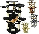 nanook Kratzbaum Katzenkratzbaum XXL Gigant Premium Qualität, große und schwere Katzen (Maine Coon, Ragdoll), stabil 58 kg, Kratzstämme 15 cm Ø,standfest - Farbe: schwarz