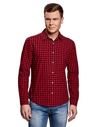 Oodji ultra uomo camicia slim fit a quadri, rosso, 45,5 сm/it 56-58 / xxl