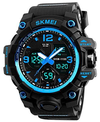 Herren Jugendliche Jungen Multifunktions Digital Sportuhr Männer Analog Doppelzeit Militär 50M Wasserdicht Armbanduhr Großes Gesicht Elektronisch Stoßfest Digital Uhr mit Stoppuhr für Gents (Blau)