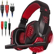 Gaming Headset con microfono e LED per computer portatile, cellulare, PS4 e nuova Xbox One, DLAND 3.5mm cablata a rumore isolamento Gaming Headphones - Controllo del volume (nero e rosso)