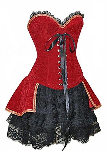 Halloween Sexy Romantik Burleske Vintage Vollbrust Corsage mit Passendem Rock Korsett Rot Kleid Größe 48