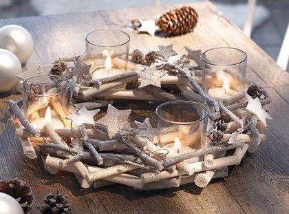 """Adventskranz """"Glitzer"""" Sterne Tischkranz Teelichthalter Kerzenhalter Holz Natur Kranz"""