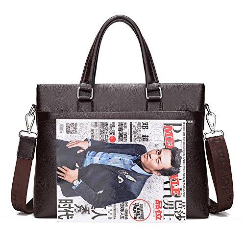 pacchetto M borsetta sezione messenger bag in pelle PU borsa del computer in morbida pelle per il tempo libero e documenti aziendali , brown black
