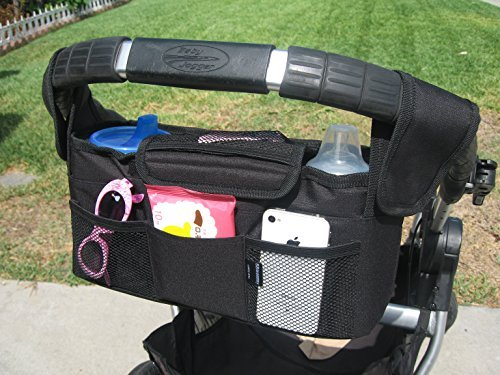 Baby Stroller Organizer Converts to Diaper Bag or Car Caddy Rip-Stop Nylon Has 2 Large Bottle Holders and Mesh Storage Compartments
