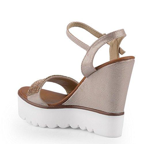 Ideal Shoes - Sandales compensées effet pailleté et décorées de strass Danae Beige