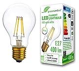 greenandco® CRI90+ Glühfaden LED Lampe ersetzt 35 Watt E27 Birne, 4W 400 Lumen 2700K warmweiß Filament Fadenlampe 360° 230V AC nur Glas, flimmerfrei, nicht dimmbar, 2 Jahre Garantie
