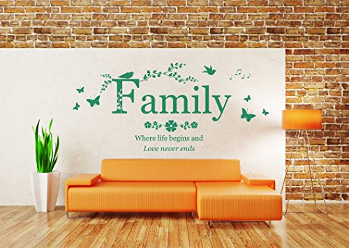 'Family, where life begins and love never ends' Quote, Vinyl Wall Art Sticker. Mural, Decal. Home, Wall Decor. Living Room, Bedroom, Dining Room