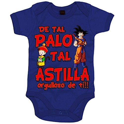 Body bebé Dragon Ball Goku Gohan de tal palo tal astilla orgulloso de ti - Azul Royal, 6-12 meses