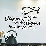 Vovotrade Cuisine Autocollant Vinyle Decal Cuisine Carrelage Chef Mur Décor Sticker Vinyl Decal Kitchen Tile Chef Wall Decor (Black)