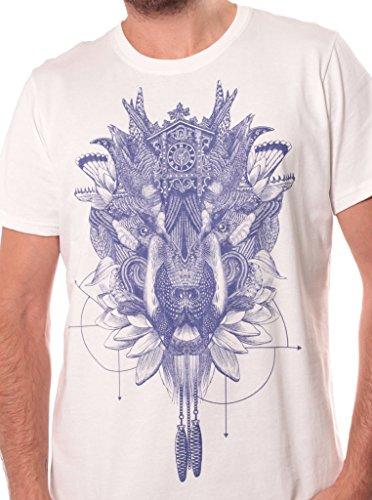 Herren T-Shirt mit Featherface Psychodelischem Aufdruck - handgefertigt durch Siebdruck Alternativ Tee - Street Habit Weiß