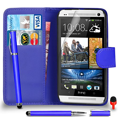 htc-one-m7-case-premium-leather-blue-wallet-flip-case-cover-pouch-with-2-in-1-ball-pen-touch-stylus-