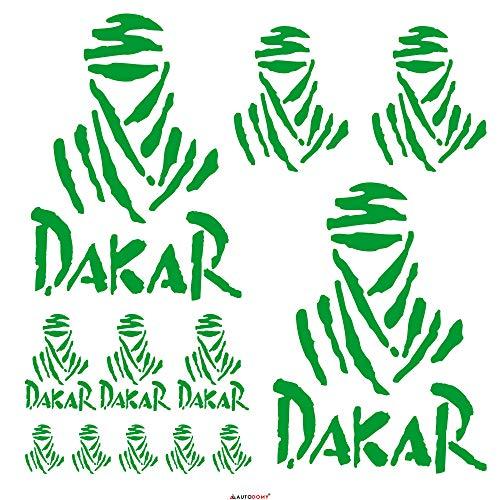 Autodomy Confezione Adesivi Dakar 15 Pezzi per Auto o Moto (Verde)