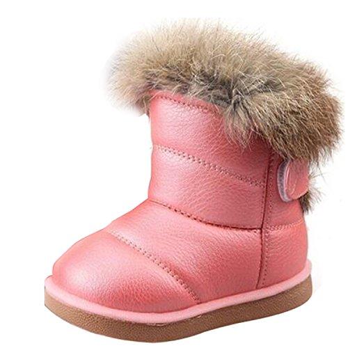 Gaorui Mädchen Schlupfstiefel Winter Stiefeletten Kunstfell Gefüttert Boots Weiß Rosa Braun