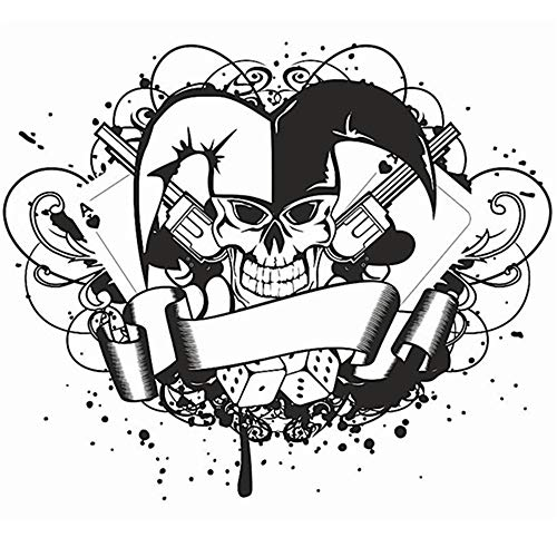 wandaufkleber 3d Wandtattoo Wohnzimmer Skull Joker Dice Poker Pistol Sticker Punk Death Decal Horror Halloween for living room bedroom