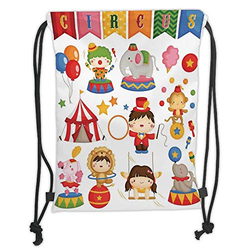 LULUZXOA Gym Bag Printed Drawstring Sack Backpacks Bags,Circus Decor,Carnival Circus Happy Children Girl Boy Hat Cotton Candy Stars Swing Lion Decorative, Soft Satin,T - Cotton Candy Tie Dye