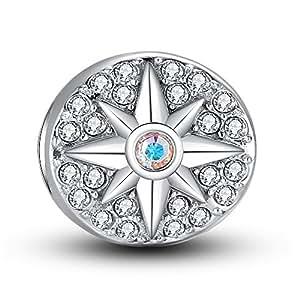 Charm Argent Sterling 925 Charm M¨¦daillon Boussole compatible Pandora Chamilia