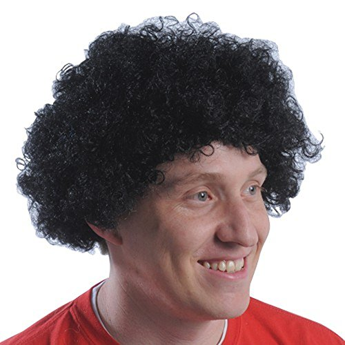 Schwarz Curly Fro Perücke Afro Adult Mens Andre der Riese 70 Kostüm