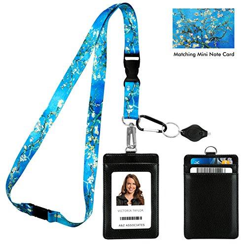 Van Gogh Mandorla in fiore con stampa mandorla con portafoglio porta badge in pelle PU con 3 tasche per schede, clip di sicurezza. Torcia portachiavi moschettone.