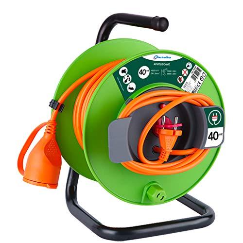 Vigor Blinky 49235 prolunga Giardino con avvolgicavo 40 mt Spina e Presa Europea 2 Poli Adatta per elettrodomestici da Giardinaggio, con Protezione, Nero/Verde