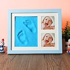 Mold Your Memories Baby's Clay Handprint and Footprint Solid Wood Photo Frame (Blue)