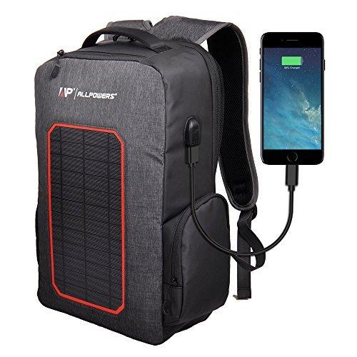 ALLPOWERS Solaire Sac à Dos Secours Chargeur Solaire Panneau de Solaire 7W Chargeur Panneau Solaire Port USB 6000mAh Batterie pour iPhone, Androids etc. 5v Devices