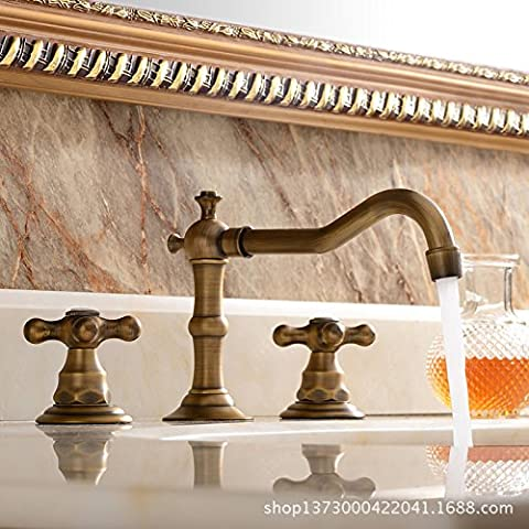 Furesnts Modern home kitchen and bathroom faucet hot and cold Bathroom Sink Basin Mixer Tap continental antique brass three-hole bathroom Cabinet split-type lavatory taps lavatory basin three piece set,(Standard G 1/2 universal hose