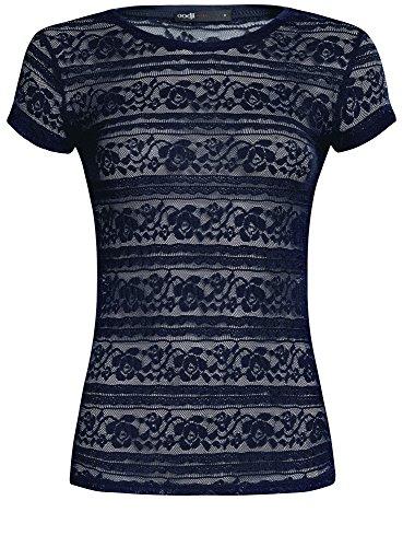 oodji Ultra Damen Spitzen-T-Shirt mit Rundhalsausschnitt Blau (7900N)