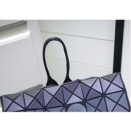 Frauen Art Und Weise Kühle Städtische Lasergeometrie Diamantgitter Einzelner Schulterbeutel Rucksack Für Damen Multicolor Grey