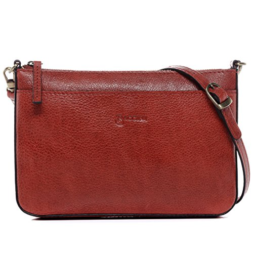 BACCINI® borsa a spalla vera pelle LORENA piccolo sacchetto Borsa da donna donna cuoio rosso