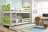 Triple trundle 3 ft kids bunk bed MAX 190X90 cm wooden frame FREE mattrsesses many colour combination (White, Green)