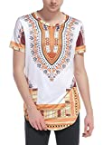 sankill Men's Dashiki Shirt Short Sleeve Traditional African Print Color Festival Tops Tribal T-Shirt