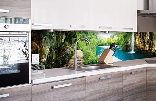 DIMEX LINE Küchenrückwand Folie selbstklebend ENTSPANNUNG IM Wald 260 x 60 cm   Klebefolie - Dekofolie - Spritzschutz für Küche   Premium QUALITÄT