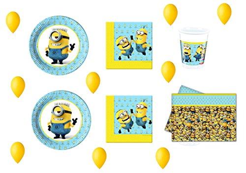 CDC - Kit N ° 15 Fête et Party moi moche et méchant Minions - 32 (32 assiettes, verres, 40 serviettes, 1 nappe, 100 ballons)