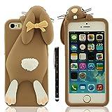 Coque iPhone SE 5C Marron, étui per Apple iPhone 5 5S Anti Choc, Très mignon 3D...