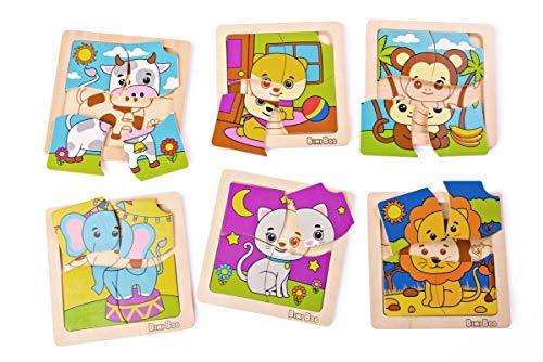 Bimi Boo Puzzle Di Animali In Legno Per Bambini Piccoli Includono Cane Gatto Mucca Scimmia Elefante E Leone