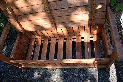 dobar Gartenbank Massive mit Lehne 2-Sitzer aus FSC Holz, 115 x 58 x 89 cm, braun - 8