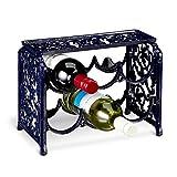 Relaxdays Weinregal aus Gusseisen für 6 Flaschen Wein HBT ca. 24 x 31 x 18 cm Flaschenregal aus Eisen mit Ablagefläche Weinständer für Küche und Esstisch Weinflaschenregal freistehend, dunkelblau