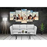 PPD Sparkling Five Horses Wall Painting 5 Frames - Five Running Horses || Vastu Painting For Home And Office.|| Running Horses Painting || 5 Horses Painting || Five Horses || Vastu- Wall Decor Wall Decals Wall Hangings Home Decor Painting Wall Painting De