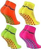 Rainbow Socks - Fille Garçon Chaussettes Antidérapantes de Sport - 4 paires - Orange Rose Vert Jaune - Taille Enfants UE 30-35